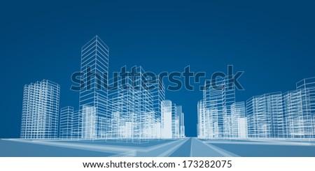City Project. 3d Render Image
