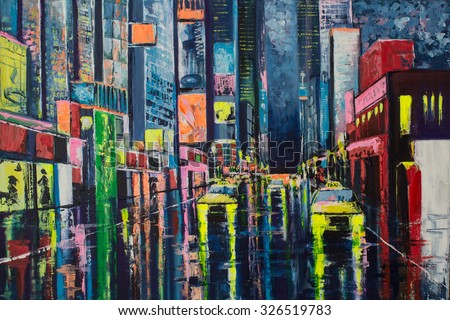 City Reflections\ Original acrylic painting, contemporary style, done on a stretched canvas with palette knife and brush.