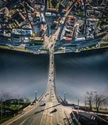 City Riga Inception curve dimension Old town, Daugava river, Bridge road and cars drone sphere 360 vr view