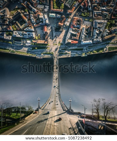 City Riga Inception curve dimension Old town, Daugava river, Bridge road and cars drone sphere 360 vr view