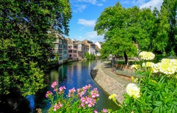 City river canal flowers scene. River canal flowers in city. Town river canal flowers. River canal flowers view