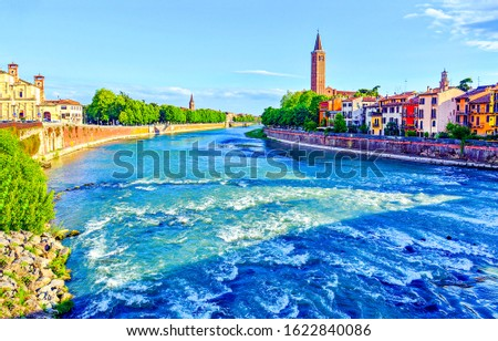 City river rapid flow view