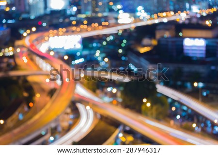 City road curve night traffic light, abstract blur bokeh background #287946317