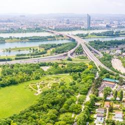 City road junction on Danube river in Vienna Austria