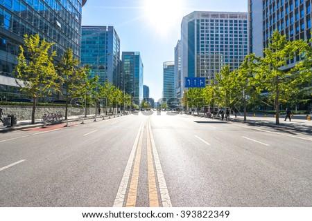 stock photo city road through modern buildings in beijing 393822349 - Каталог — Фотообои «Улицы, переулки»