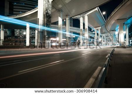 City road viaduct streetscape of night scene #306908414