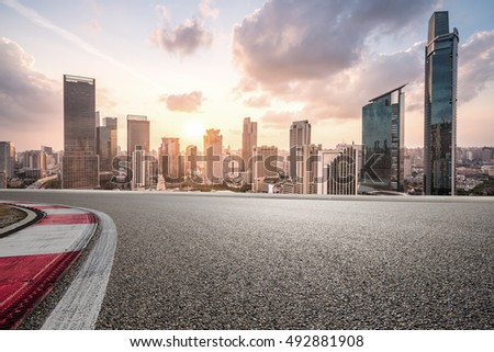 city road with cityscape and skyline of shanghai CBD #492881908