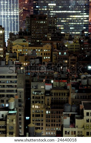 City rooftops at night. New York, USA