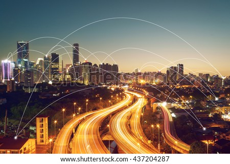 city scape and network connection concept   #437204287