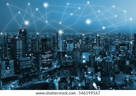 city scape and network connection concept for new global business. Blockchain connect #546199567