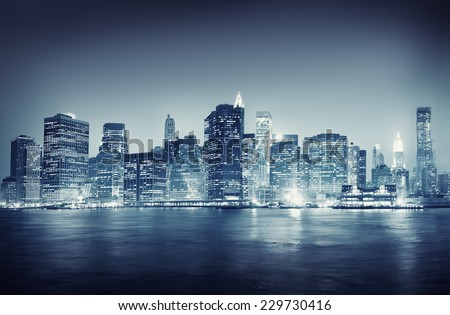 city scape new york buildings...