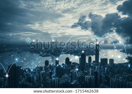 City scape with connecting dots for networking and communication, Hong Kong cityscape Foto stock ©