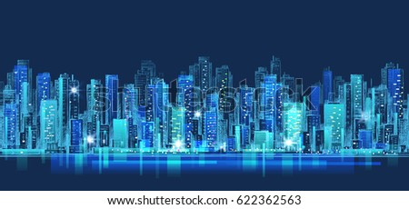 City scene on night time, urban landmark