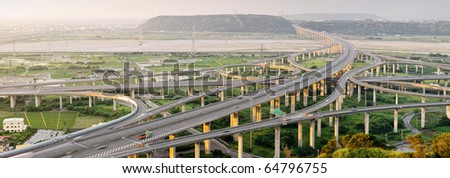 City scenery of transport buildings with highway and interchange, panoramic cityscape in day in Taiwan, Asia.