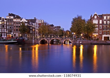 City scenic from Amsterdam Netherlands at twilight