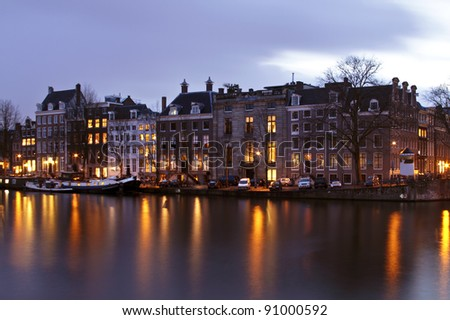 City scenic  in Amsterdam the Netherlands at twilight