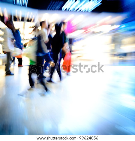 city shopping people crowd at marketplace abstract background