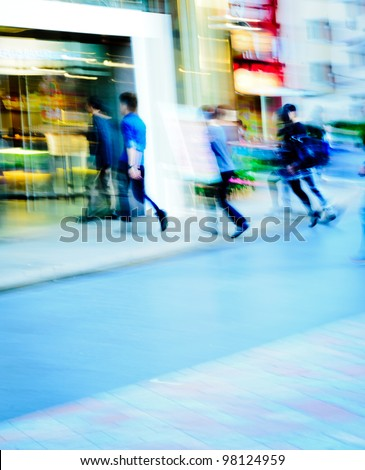 city shopping people crowd enter marketplace abstract background