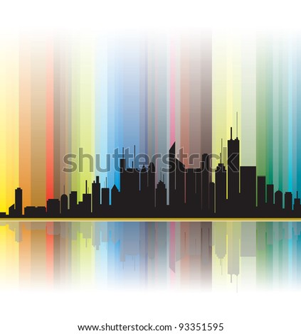 City silhouette illustration showing bright colorful lines in the background.