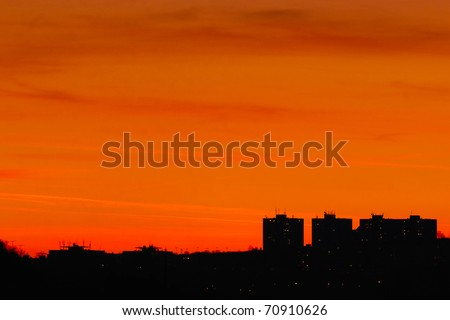 City silhouettes at sunset - stock photo