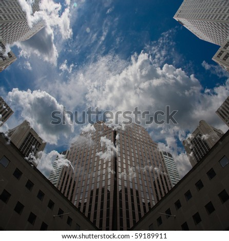 City Sky Scape with clouds and blue sky
