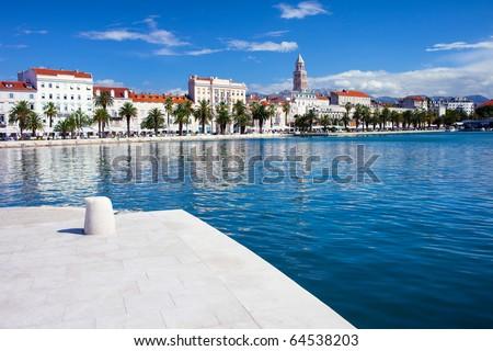 City skyline and bay of Split in Croatia.