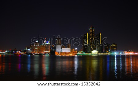 City skyline and lights with water reflection (Detroit)