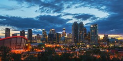City skyline at dusk in Calgary, Alberta, Canada