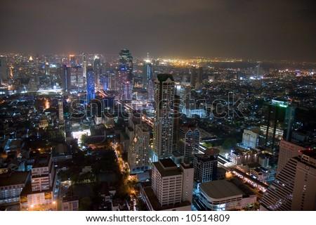 City skyline at night. Bangkok Thailand.