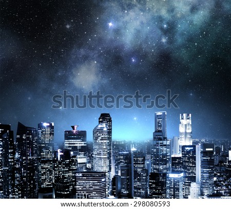 city skyline at night under a starry sky #298080593