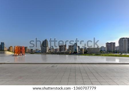 City skyline from the Heydar Aliyev Center in Baku, Azerbaijan.