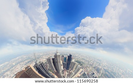 City skyline illustration/ modern city under blue sky