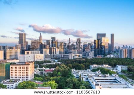 city skyline in shenzhen china #1103587610