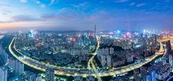 City Skyline in the Evening of Nanshan, Shenzhen, Guangdong, China