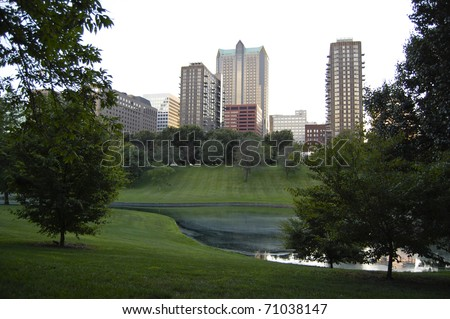 City skyline of St. Louis, Missouri as seen from Jefferson National Expansion Memorial park