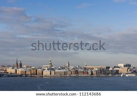 City skyline over river