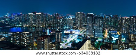 City skyline panorama at night