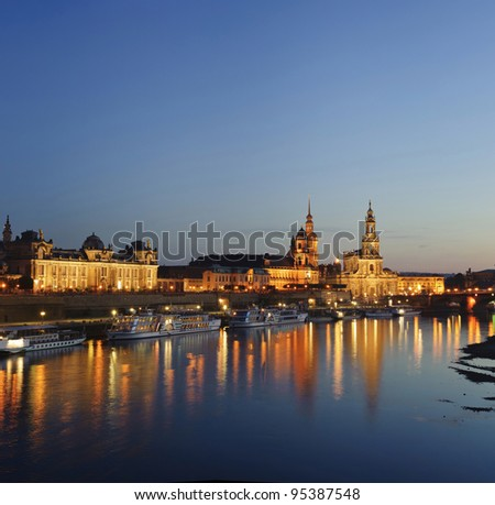 city skyline with river reflection scenery in Dresden, Germany.