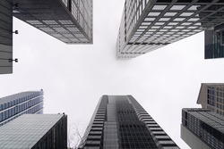 City skyscrapers bottom view against gray sky. Low wide angle shot, from ground. Modern business district concept, 3d render. Copy space