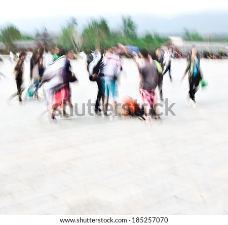 City Square crowds, blurred images