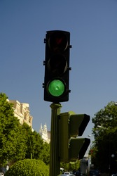 City stoplight in green