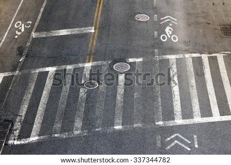 city street crosswalk and bike...