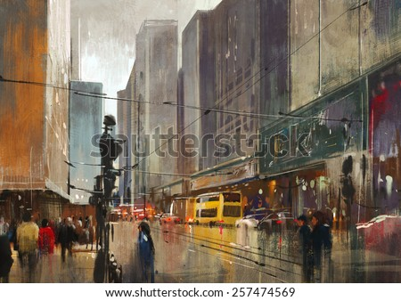 city street digital painting,illustration