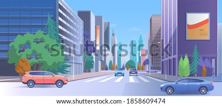 City street downtown illustration. Cartoon 3d urban cityscape with car traffic on road, luxury modern skyscraper buildings with store and billboard, empty crosswalk, town lifestyle background Сток-фото ©