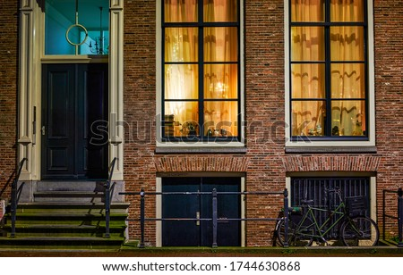 City street house windows view