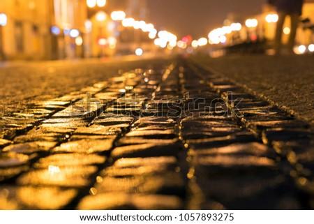City street illuminated with the night lights #1057893275