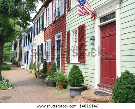 City street in Old Town, Alexandria, VA. - stock photo
