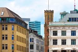 City street, skyline. Neuer Wall, upmarket shopping street in Hamburg, Germany