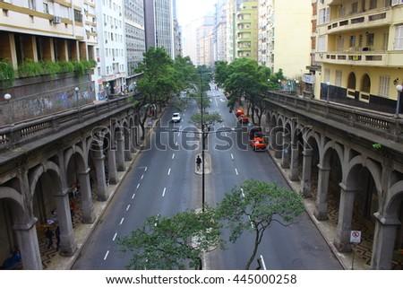 Stock Photo City street urban arcs building