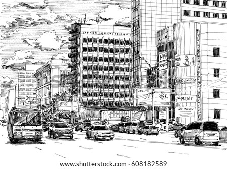 City Street View Traffic Scene Black And White Dashed Realistic Style Sketch Line